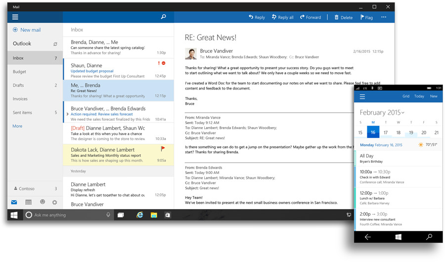 Outlook Mail与Outlook Calendar for Windows 10